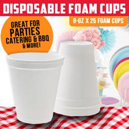 D028 Disposable Foam Cups 8oz-25s/Rol
