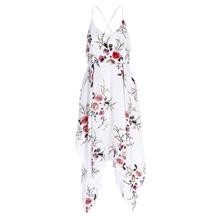 Spaghetti Strap V Neck Backless Floral Print Handkerchief Dress for Women