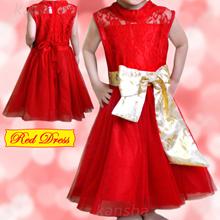 Gaun Anak Perempuan Merah dengan Pita Emas (Umur 3-5 tahun)★ Red Dress for 3 - 5 years old girl ★ Baju Anak ★Kids/Children