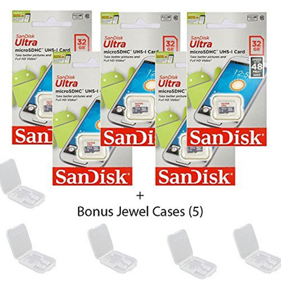 SanDisk 5 PACK - SanDisk Ultra 32GB UHS-I Class 10 MicroSDHC Memory Card Up