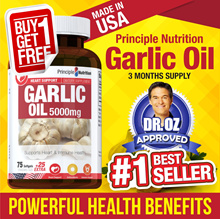 BUY 1 FREE 1 #PrincipleNutrition Garlic Oil 5000mg 100 Capsules   Supports Heart and Immunity