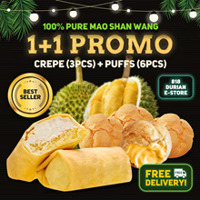 [818 Durian]❗BEST SELLER❗[1 + 1 FREE SHIPPING] 100% Premium MSW Durian Crepe and Puff