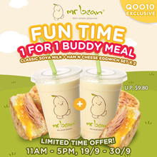 11AM -5PM FUN TIME BUDDY MEAL! - Classic Soya Milk + Ham n Cheese Eggwich Set x 2