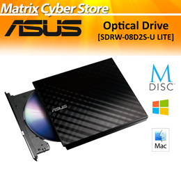 ASUS 8X Drive Slim CD/DVD-RW External DVD Writer USB 2.0. SDRW-08D2S-U LITE