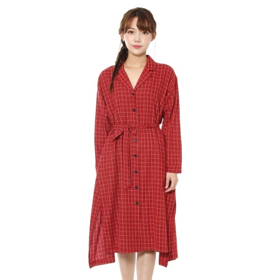ルシャプLeShopチェックロング・ローブ型ワンピースLHAOP614 面ワンピース/ 韓国ファッション