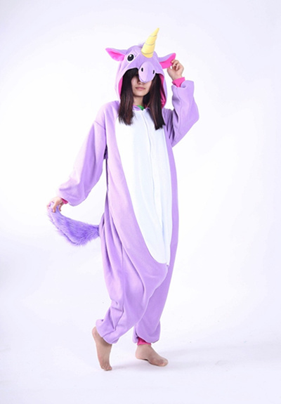 cb4e1a59c008 Kigurumi Purple Blue Unicorn Onesie Pyjamas Jumpsuits Rompers Adult Animal  Sleepsuit Pajamas Costume