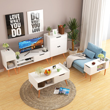 [Agoramart] Scandinavian Wooden Off White Storage Coffee Table | TV Console | Storage Cabinet