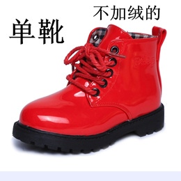 3-12-year-old new autumn and winter baby boots men and women Dongmartin boots bright leather short b