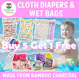 Buy 5 Get 1 Free!Bamboo Charcoal Cloth Diaper/ Swim Diaper/ Training Pant/ Wet Bag/ Nappy Liner/Baby