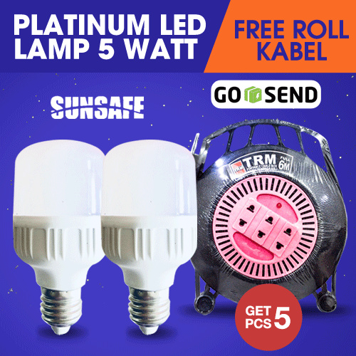 Clearance Sale! Get 5 Pcs Sunsafe Platinum Lampu Led 5 Watt Free Roll Kabel 6 Meter Deals for only Rp39.500 instead of Rp54.861