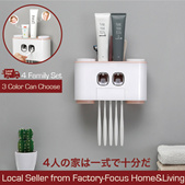 New Toothbrush Holder/Four cups Automatic Toothpaste Dispenser