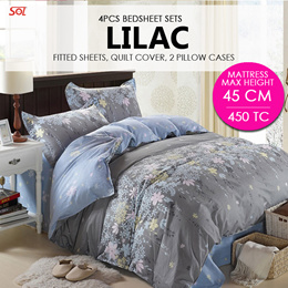 SOL HOME ® 4 PCS Bedsheet Set - Lilac - 1 Fitted Sheet + 2 Pillow Cases + 1 Quilt Cover-Height 45CM