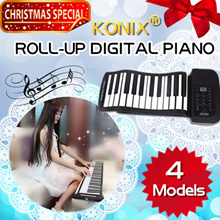 KONIX 49/61/88 KEYS PORTABLE SILICONE ROLL-UP DIGITAL PIANO / SOFT KEY MIDI KEYBOARD / WITH SPEAKER