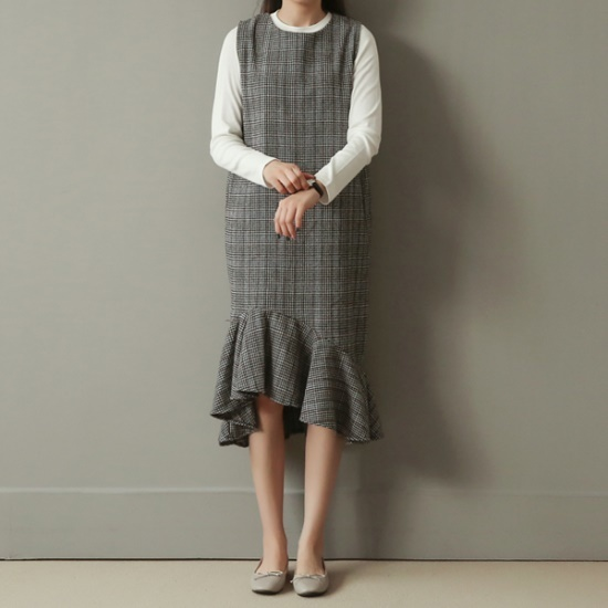 ビナインアルチョチェクフルワンピース 綿ワンピース/ 韓国ファッション