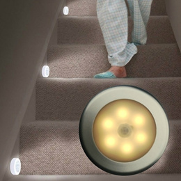 6 LED Cool Portable Wireless Motion Sensor Night Light Battery-Powered with Sticker 3 Pack