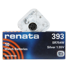 renata 393 SR754W 1PACK X (10PCS) Silver 1.55V Watch battery Made in swiss