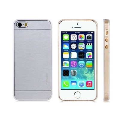 motomo Plastic Protective Case with TPU Rubber Edge for iPhone 5S/5 (Silver)