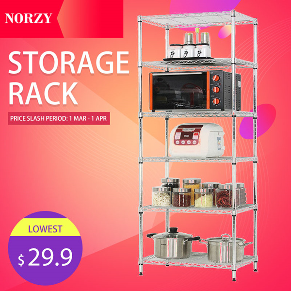 5 Tier Rack | Storeroom/Office Adjustable Storage Shelves | kitchen Storage Shelve Deals for only S$129.9 instead of S$0