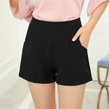 4f6147f342 Women Shorts Black Loose Chiffon Zipper Pockets Ladies Wide Leg Shorts High  Waist Size S to