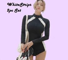Whitestrips 2pc Set Zip Rashguard Swimsuit Women Swimming Wear Women Swimwear Women Gift for Ladies