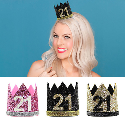 21st Birthday Hat Girl Gold Black Priness Crown Number 21 Year Old Party Glitter