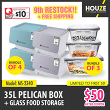 ONLINE EXCLUSIVE ♦ 9th Restock ♦ Bundle Of 4 35L Pelican Box + 3 Assorted Glass Container