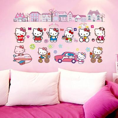 Qoo10 Cartoon Car Airplane Hello Kitty Cat Wall Sticker For Kids