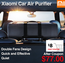 $12 Coupon off ❤Xiaomi car air purifier. Remove odour filter PM2 .5 harmful particles and bacteria