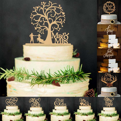 "38baeeb5dfc0e ""Mr And Mrs Quot. Antic Rustic Wedding Cake Topper Laser Cut Wood Letters  Wedding Cake Decorations F"