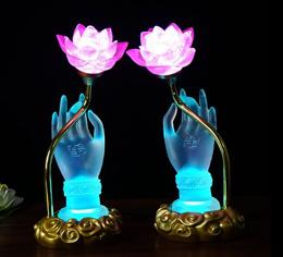 Led Lotus Light Crystal with buddha hand / for buddha /30cm height