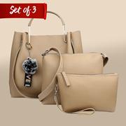 29K Women Handbag with Sling Bag  Pouch (Set of 3) -Cream Combo