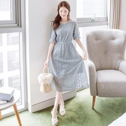 [Attrangs] op4930(A) 안감 일체형의 플라워 레이스 패턴 허리밴딩 롱 반팔원피스 dress