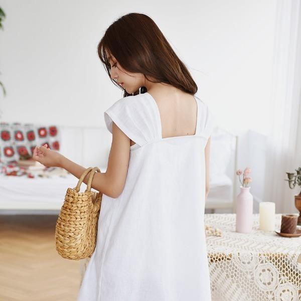 コロッケシャーリング・ナシリンネンワンピース2c new 無地ワンピース/ワンピース/韓国ファッション