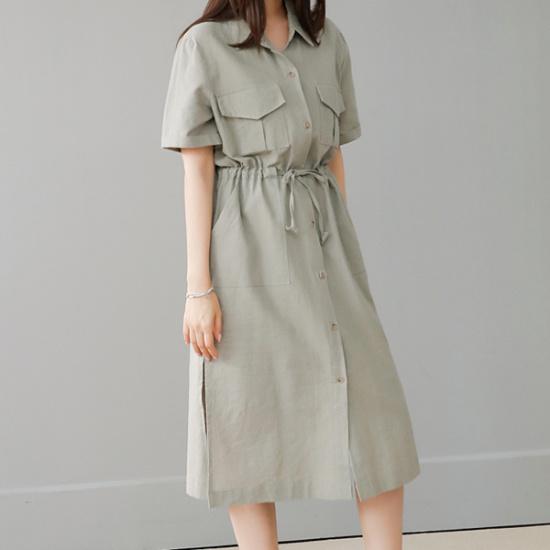 ビナイン・フォージボタンワンピース 綿ワンピース/ 韓国ファッション