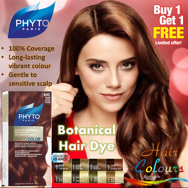 ?1+1 Promo? France PHYTO Botanical Hair Colour Dye. 100% perfect coverage with long-lasting results even on sensitive scalp. Achieve baby smooth hair without hair mask/makeup Deals for only S$98 instead of S$0