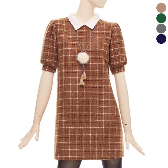 フォーカス・ツイードカラミニワンピースBFGW1OP4710 面ワンピース/ 韓国ファッション