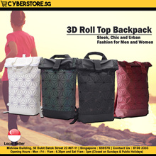3D Roll Top Backpack for Men and Women Accessories Trendy Travel Laptop Messenger Sports Bag Gym
