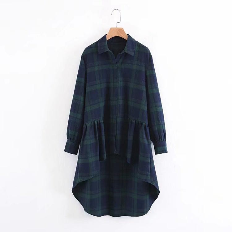 2017秋冬服新型、欧米のゆったりして長いスカートの長袖格子のワイシャツのワンピース
