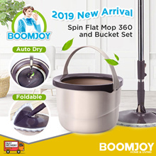 [OFFICIAL STORE] BOOMJOY M10 Spin Mop New Magic Spin Flat Mop 360 and Bucket Set