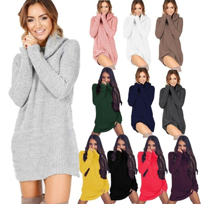 12 colors Sweater Knitwear Women Autumn Winter O-Neck Full Regular A-Line Short Skirts Casual Dresse
