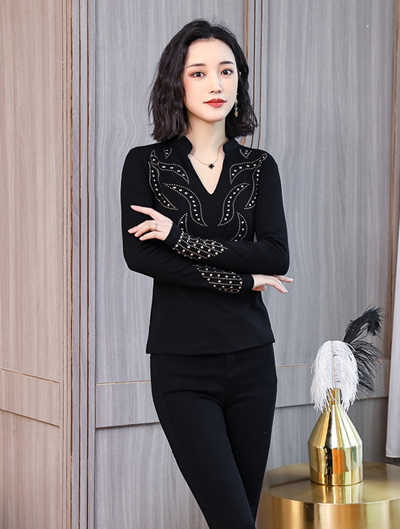 Pat 2018 Winter Clothing New European Station With Drill Top Female Long Sleeve Bottom Shirt T