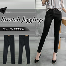 OB DESIGN ★ OBDESIGN ★ ORANGEBEAR ★ BLACK STRETCH TWILL SLIM-FIT JEGGINGS ★ S-XXXXL SIZE ★ 1 COLORS