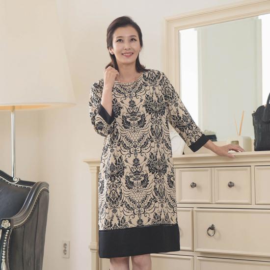 スィジュマダムON1817アンティークパターンワンピースママの服ミッシー服母プレゼントビッグサイズおばさん服50台 プリントのワンピース/ 韓国ファ