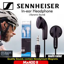 Sennheiser Mx400 II In-ear Headphone Dynamic Sound. Intense Lifelike Quality Sound, contain Neodymium Magnets Tuned to Natural Sound Reproduction. Superior fit in Ear Canals.