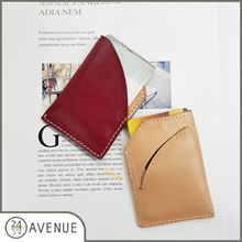 [24 AVENUE] Minimalist Wallet / Real Calf Leather / Cash Cards Coins / Monogram Initials
