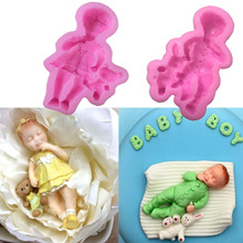 3D Boy Girl Barbie Doll Bear Silicone Cake Mold Baby Party Fondant Cake Decorating Tools Cupcake Cho