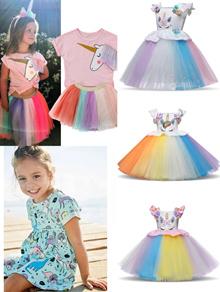 Kids girl dress/Unicorn Dinosaur cotton dresses/western style short sleeve Pajamas/Halloween Costume