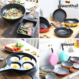 [Lowenthal] Titanium Stone Frying Pan Wok Tow-Handle Grill Egg Baby Square Saute Casserole