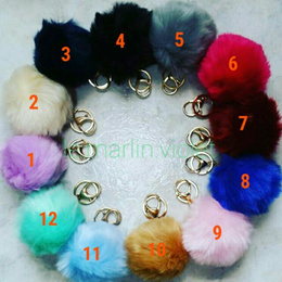 [SG SELLER] ★Synthetic Furball Pom Pom Bag Charms Keychains Keyrings ★