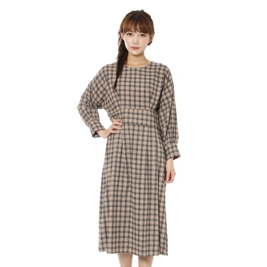 ルシャプLeShopチェックの小売・バルーンあごワンピースLHAOP615 面ワンピース/ 韓国ファッション